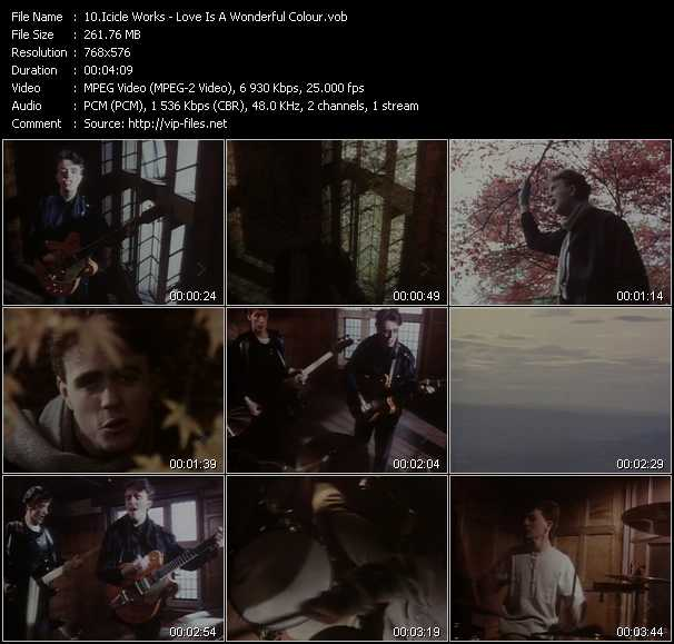 Screenshot of Music Video of Icicle Works - Video Song: «Love Is A Wonderful Colour»
