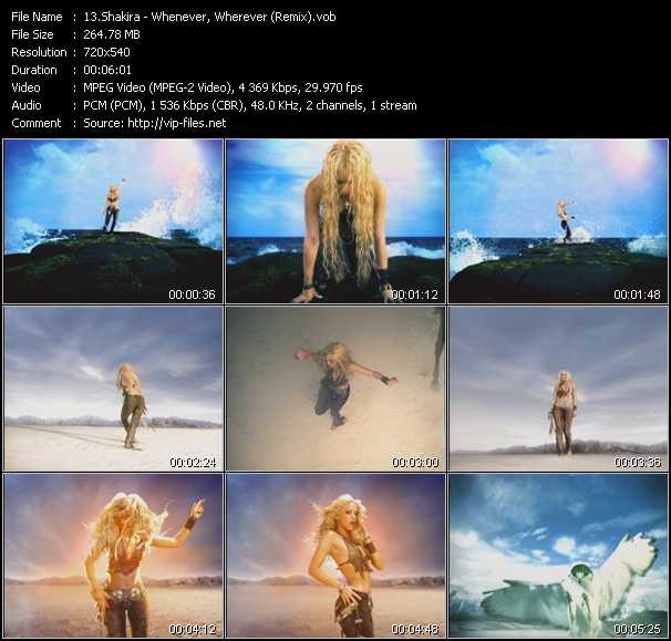 Music Video of Shakira - Hips Don't Lie - Download HQ Videoclip(VOB) .