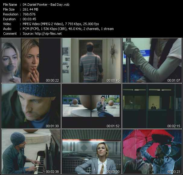 Music Video of Daniel Powter - Bad Day - Download HQ