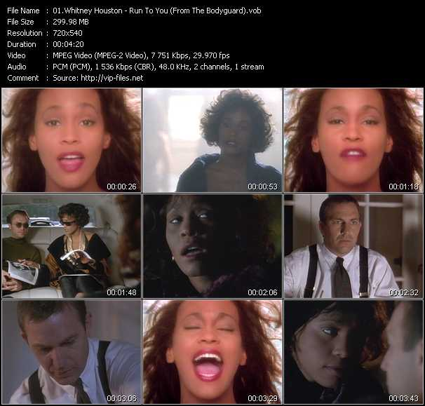 Screenshot of Music Video of Whitney Houston - Video Song: «Run To You»