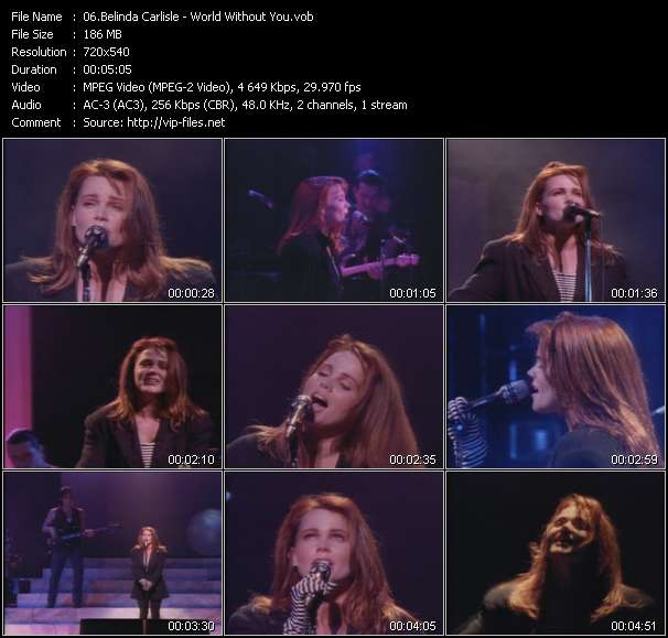 Screenshot of Music Video of Belinda Carlisle - Video Song: «World Without You»