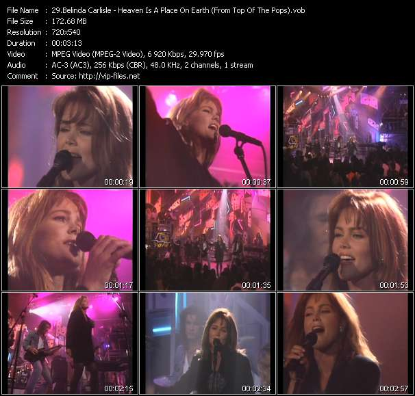Screenshot of Video Song: «Heaven Is A Place On Earth» of Belinda Carlisle
