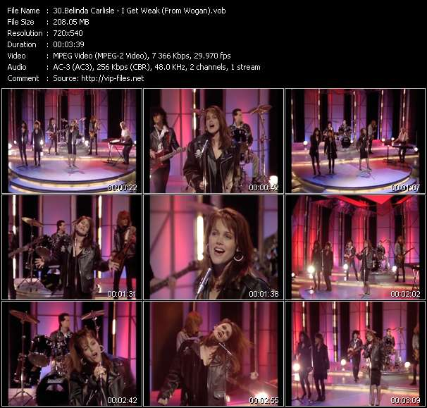 Screenshot of Video Song: «I Get Weak» of Belinda Carlisle