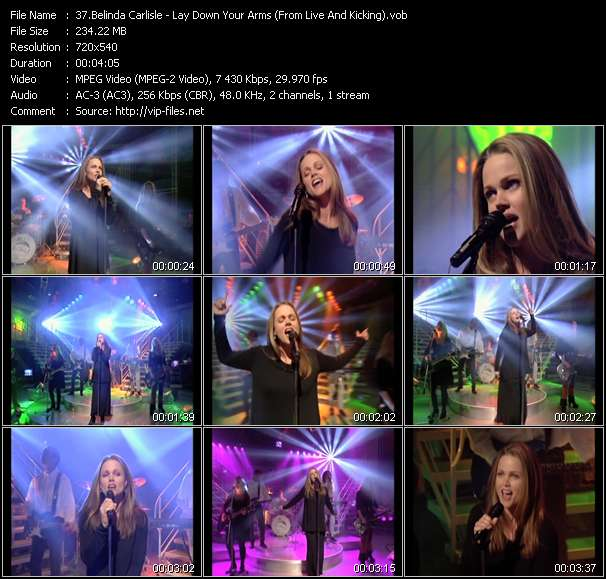 Screenshot of Music Video of Belinda Carlisle - Video Song: «Lay Down Your Arms»