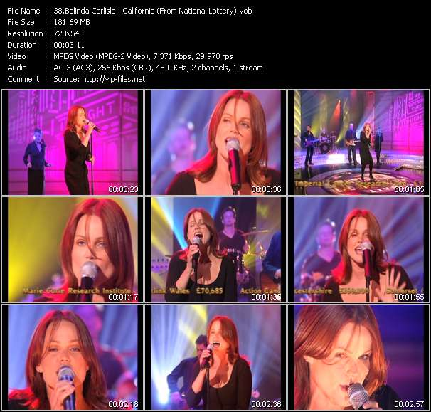 Screenshot of Video Song: «California» of Belinda Carlisle