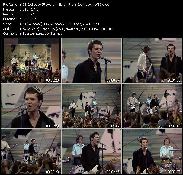 Screenshot of Video Song: «Sister» of Icehouse, Flowers