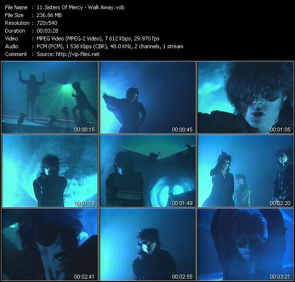 Screenshot of Music Video of Sisters Of Mercy - Video Song: «Walk Away»