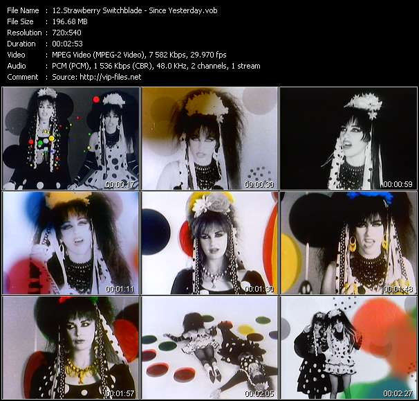 Screenshot of Video Song: «Since Yesterday» of Strawberry Switchblade