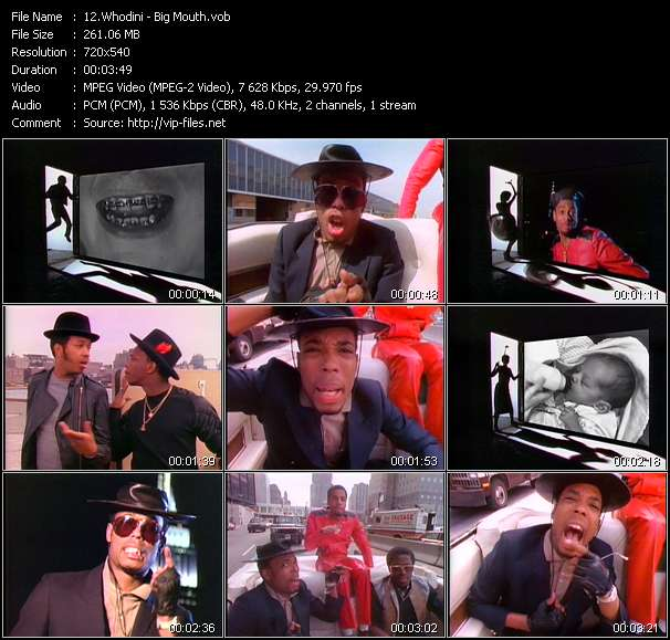 Screenshot of Video Song: «Big Mouth» of Whodini