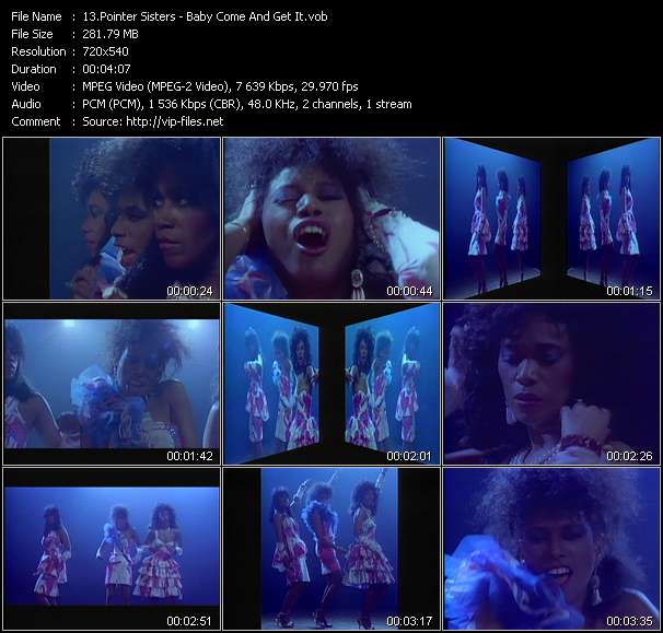 Screenshot of Video Song: «Baby Come And Get It» of Pointer Sisters