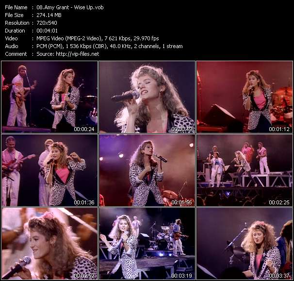 Screenshot of Music Video of Amy Grant - Video Song: «Wise Up»