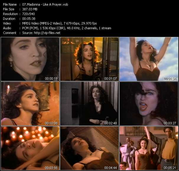 Screenshot of Video Song: «Like A Prayer» of Madonna