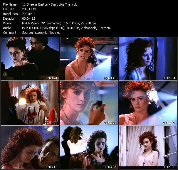 Screenshot of Music Video of Sheena Easton - Video Song: «Days Like This»