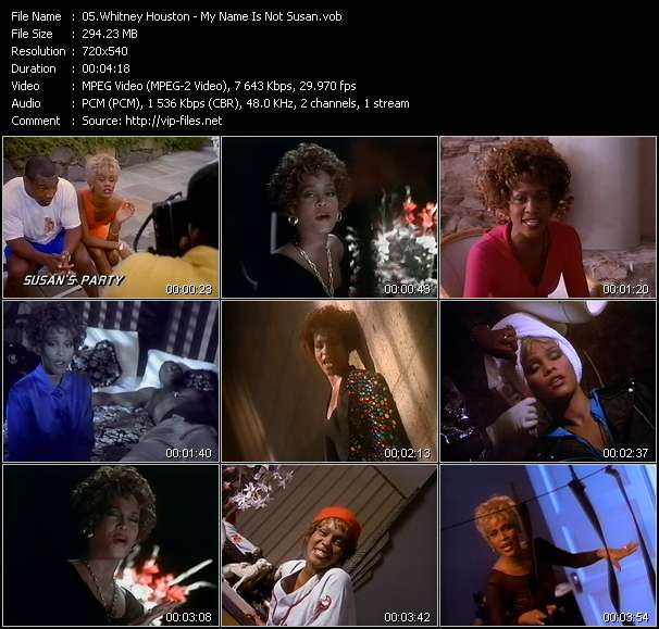 Screenshot of Music Video of Whitney Houston - Video Song: «My Name Is Not Susan»