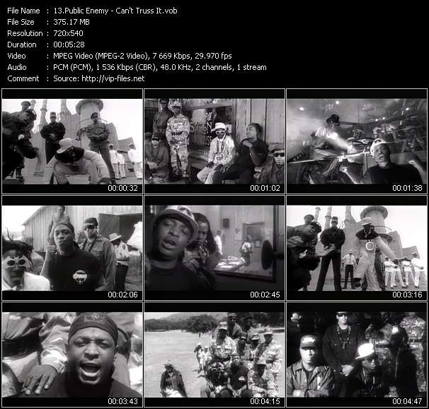 Screenshot of Video Song: «Can't Truss It» of Public Enemy