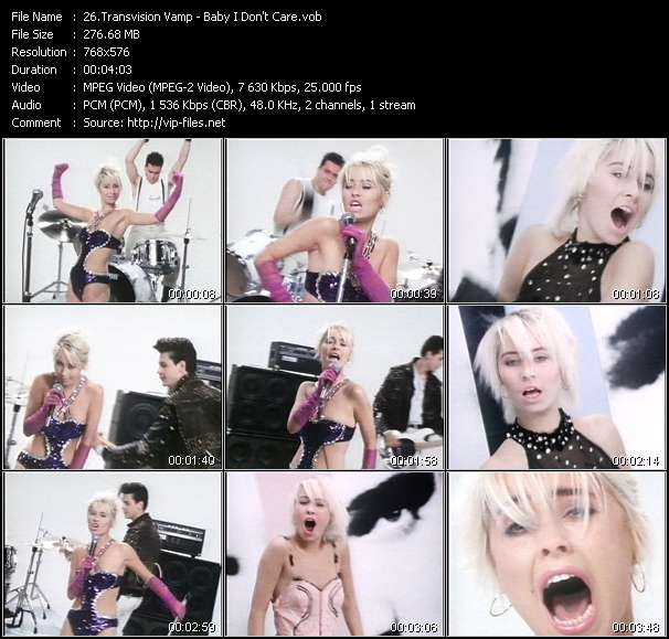 Screenshot of Video Song: «Baby I Don't Care» of Transvision Vamp