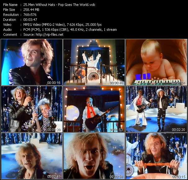 Screenshot of Music Video of Men Without Hats - Video Song: «Pop Goes The World»