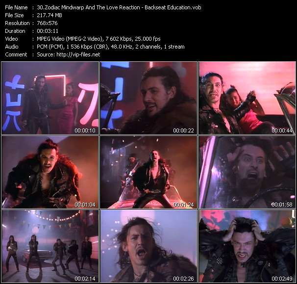 Screenshot of Music Video of Zodiac Mindwarp - Video Song: «Backseat Education»