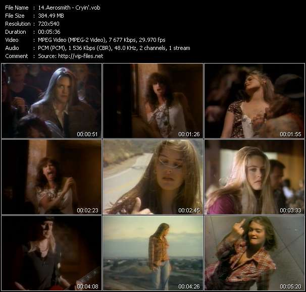Screenshot of Music Video of Aerosmith - Video Song: «Cryin'»