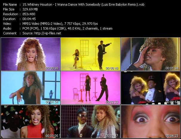 Screenshot of Music Video of Whitney Houston - Video Song: «I Wanna Dance With Somebody»