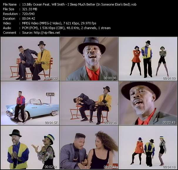 Screenshot of Video Song: «I Sleep Much Better» of Billy Ocean, Will Smith