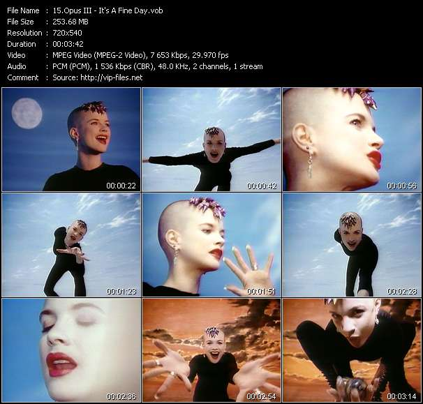 Screenshot of Music Video of Opus III - Video Song: «It's A Fine Day»