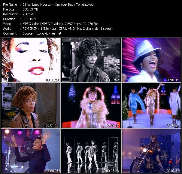 Screenshot of Music Video of Whitney Houston - Video Song: «I'm Your Baby Tonight»