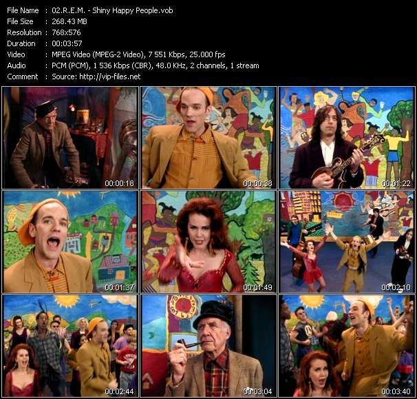 Screenshot of Video Song: «Shiny Happy People» of R.E.M.