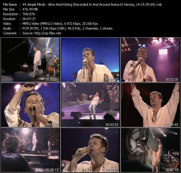 Music Video of Simple Minds - Kick It In - Download HQ Videoclip(VOB) .