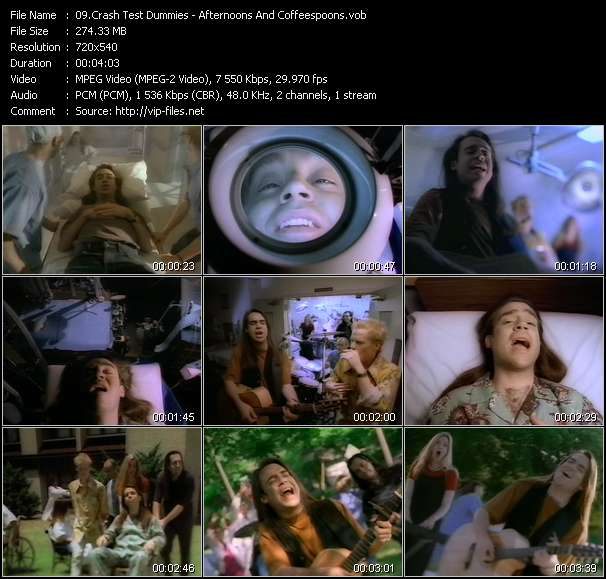 Screenshot of Video Song: «Afternoons And Coffeespoons» of Crash Test Dummies