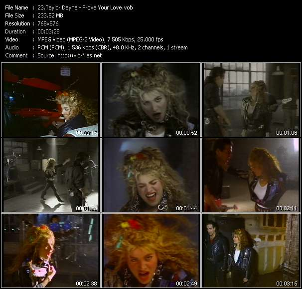 Screenshot of Music Video of Taylor Dayne - Video Song: «Prove Your Love»