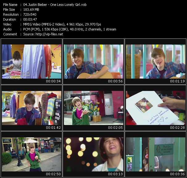 justin bieber one less lonely girl video download