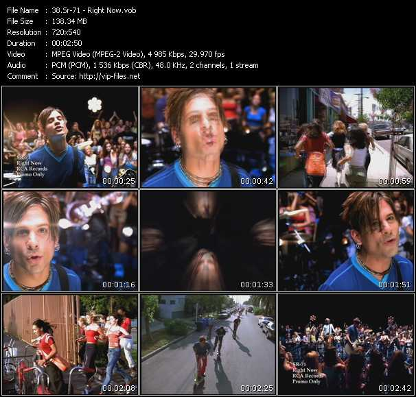 Music Video of Sr-71 - Right Now - Download HQ Videoclip(VOB)